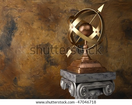 3d render illustration of  conceptual armillary sphere  - celestial globe.