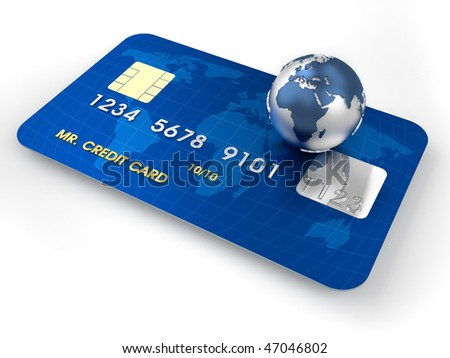 3d render illustration of conceptual credit card over white - stock photo