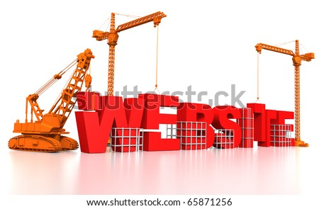 3D render illustration of construction site, including cranes and lifting machine, where the word Website is being built.