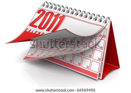 3D render illustration of 2011 desktop calendar - stock photo