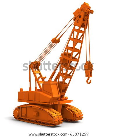 3D render illustration of industrial construction crane - stock photo