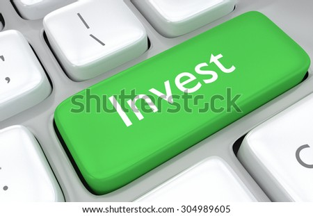 3d render illustration of Investment concept with a close up view of a green key on a computer keyboard with the word - Invest - in white text for financial or economic themed ideas