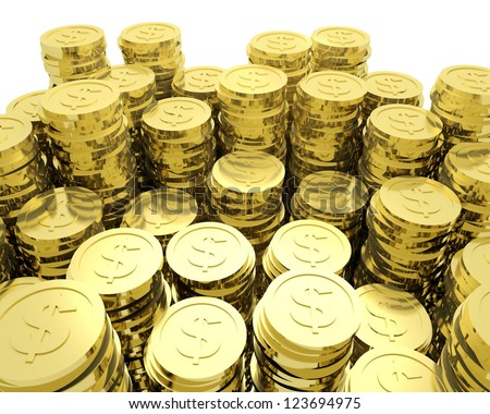 3d render illustration of lots of gold dollar coins. - stock photo