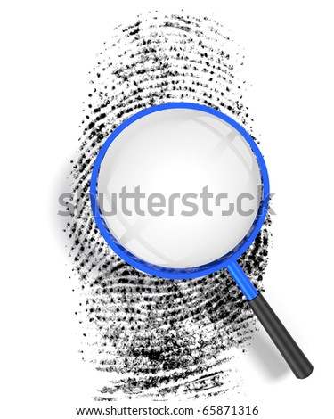 3D render illustration of magnifying glass hovering over a finger print, revealing blank copy space - stock photo