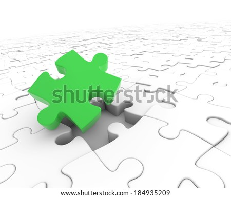 3d render illustration of one missing puzzle piece - stock photo