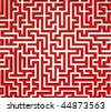 3d Render illustration of Simple red maze, Isolated on white and very easily to cut - stock photo