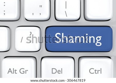 3D render illustration of social media shaming button on a keyboard - stock photo