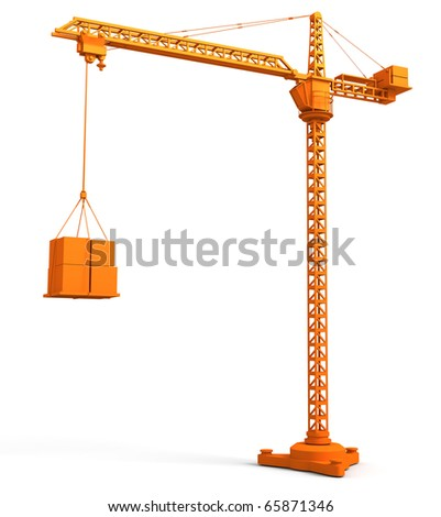 3D render illustration of  tower crane - stock photo