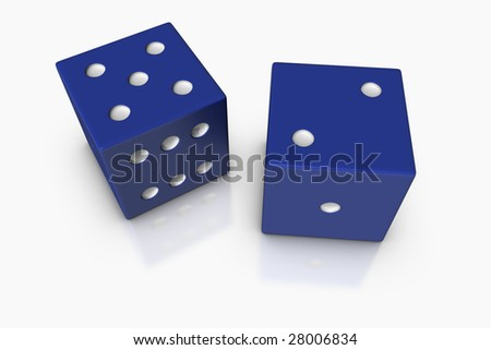3D render illustration of two blue dice with lucky number seven. - stock photo