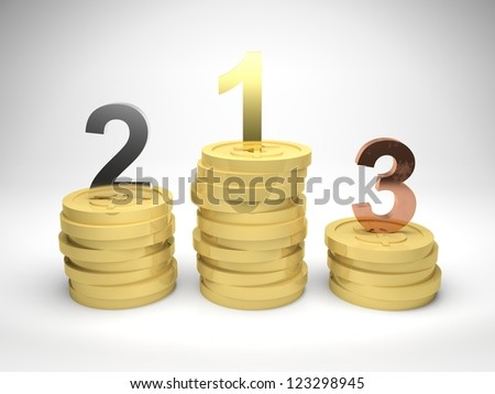 3d render illustration of winners podium made from stacks of gold coins, with first, second, and third position in gold, silver, and bronze materials. - stock photo