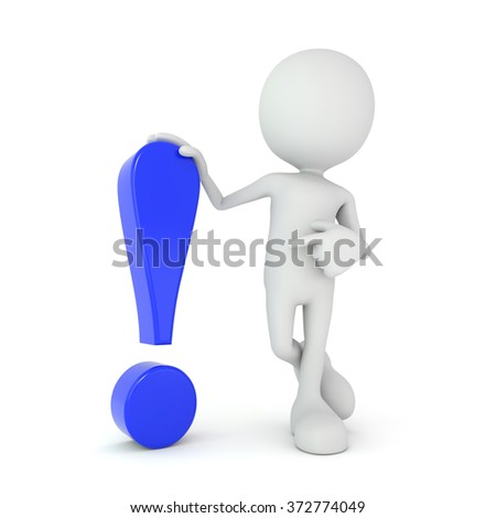 3D render illustration, person points at an exclamation mark - stock photo