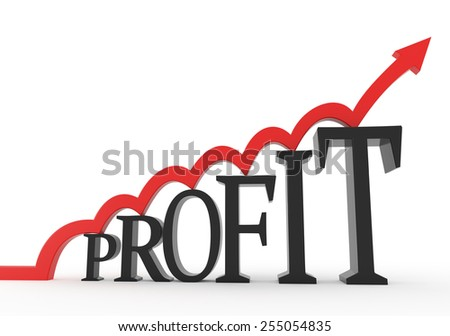 3D render illustration - Red arrow jumps on a profit text object - stock photo
