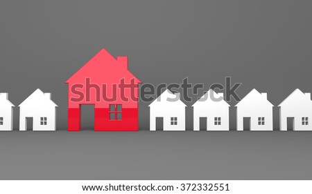 3d render illustration - Red house symbol stands out - stock photo