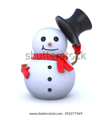 3d render illustration - small snowman takes off his hat - stock photo