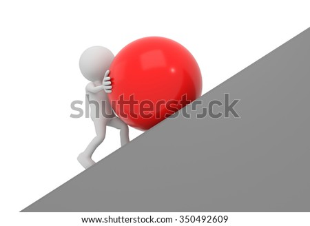 3D render illustration - White 3D human pushes red sphere uphill - stock photo