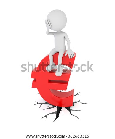 3D render illustration - White 3d human sits on euro symbol - stock photo