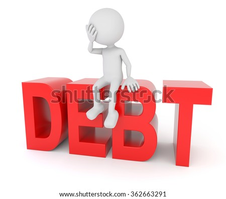3D render illustration - White 3d human sitting on debt text - stock photo