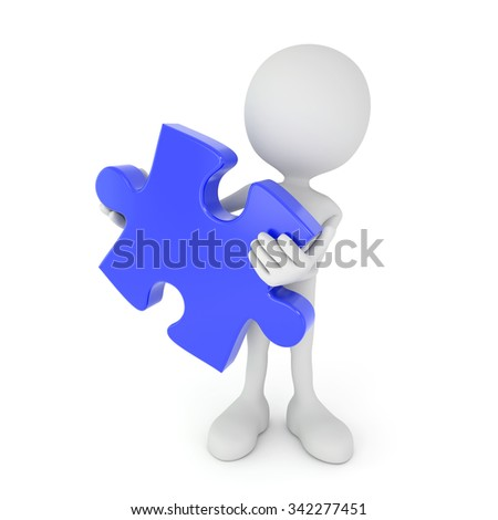 3d render illustration - white human holds blue puzzle piece - stock photo