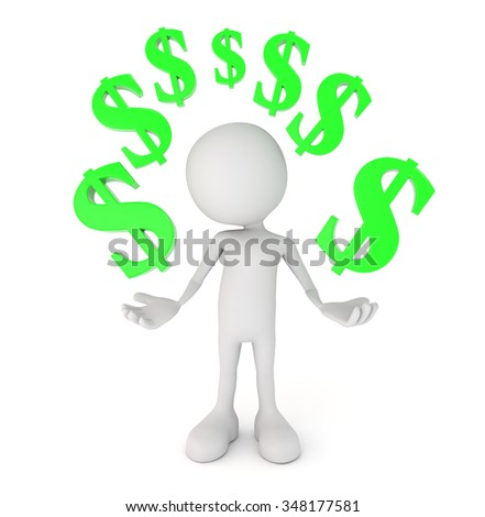 3d render illustration - white human surrounded by dollar symbols