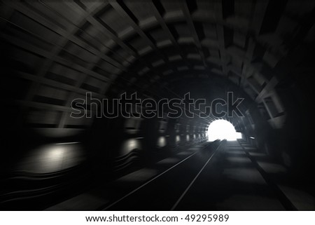 3d render: illustration with glowing end of subway tunnel with motion blur - stock photo