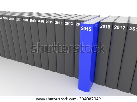 3D render illustration - year books, 2015 stands out - stock photo