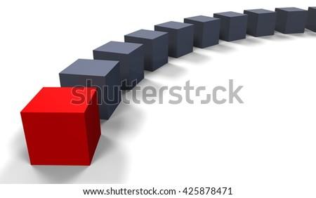 3D render image of a row of cubes representing an unique person / Unique concept - stock photo