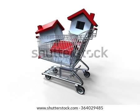 3D render image of a shopping cart loaded with houses / House Market   - stock photo