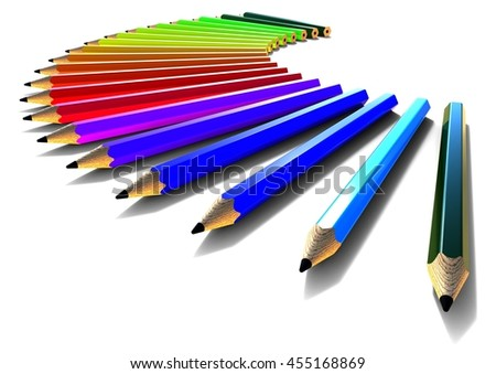 3D render image of an abstract background with colored pencils / Colored pencils  - stock photo
