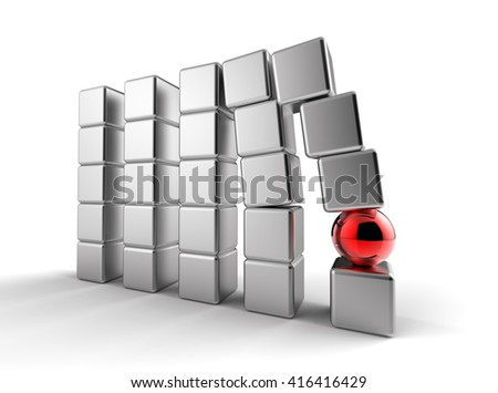 3D render image of rows of cubes with one sphere in the middle representing a weak link / Weak link concept  - stock photo
