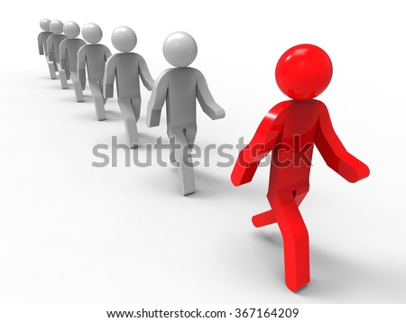3D render image representing a group of people following the leader  / Following the leader  - stock photo
