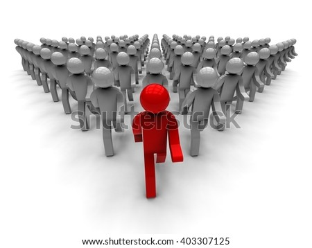 3D render image representing a group of people following the leader  / Following the leader Concept - stock photo