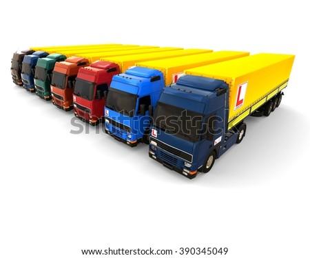3D render image representing a school driving truck fleet/ School driving Truck Fleet - stock photo