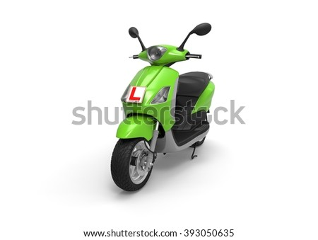3D render image representing a scooter with learner driver sign / Scooter with learner driver sign  - stock photo