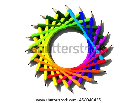 3D render image representing colored pencils / Colored pencils - stock photo
