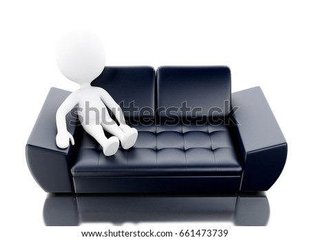 3d render image. White person relaxed and lying on couch. Isolated white background.