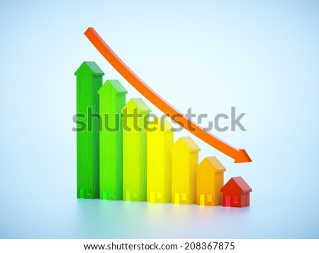 3d render image with decreasing graph of real estate  - stock photo