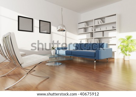 3d render interior of a modern living room