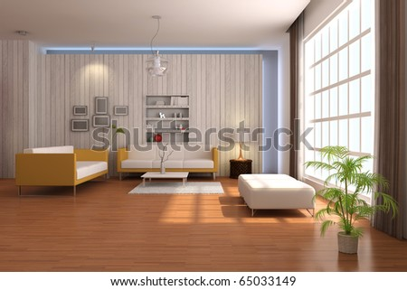 3d render interior of living room with modern style