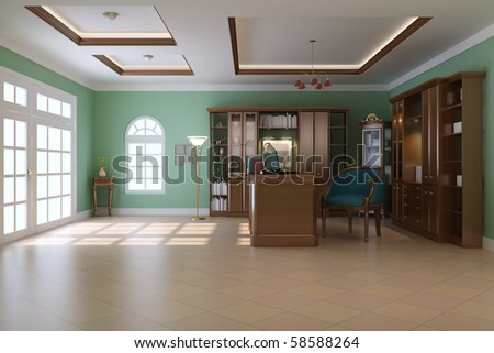 3d render interior of luxury classic study room - stock photo