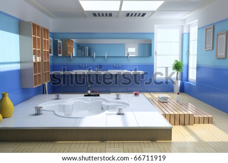 3d render interior of luxury modern bathroom - stock photo