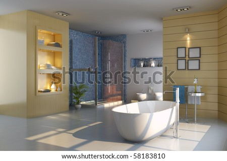 3d render interior of modern bathroom - stock photo