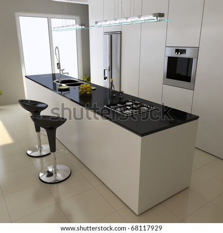 3d render interior of modern domestic kitchen - stock photo