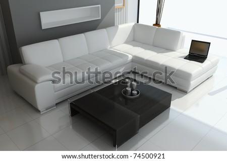 3d render interior of modern living room - stock photo