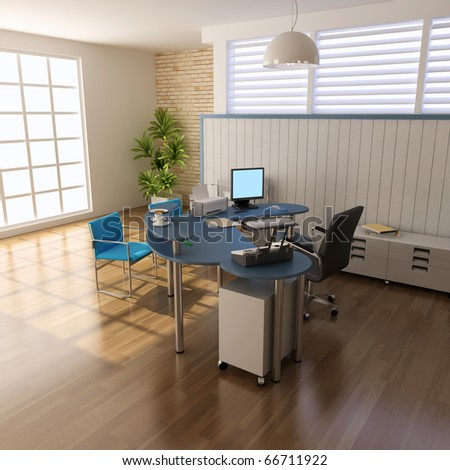 3d render interior of modern office - stock photo