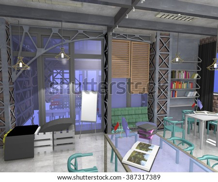 3D render interior space co-work meeting room, side view