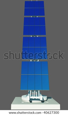3D render - isolated futuristic solar power cell on concrete platform. Blue sky reflection in panels. - stock photo