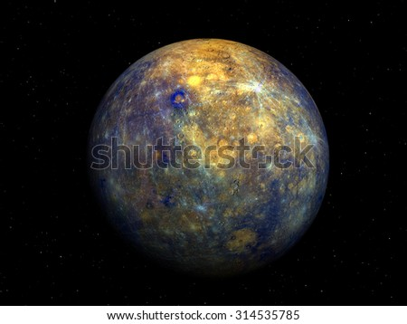 3D render Jupiter Moon callisto on a black background with stars, high resolution.Elements of this image furnished by NASA - stock photo
