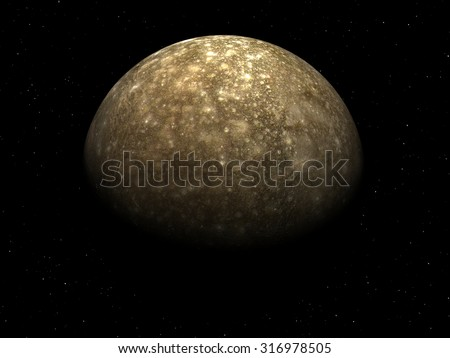 3D render Jupiter Moon callisto on a black background with stars, high resolution.Elements of this image furnished by NASA