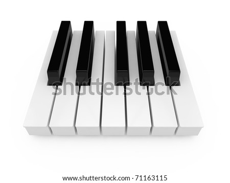 3d render keyboard of the classical piano in an octave range - stock photo