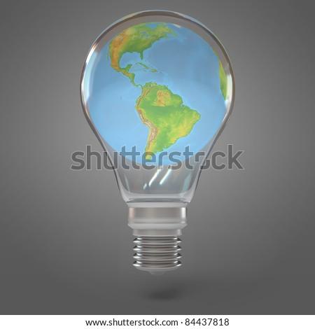 3d render lamp world - stock photo